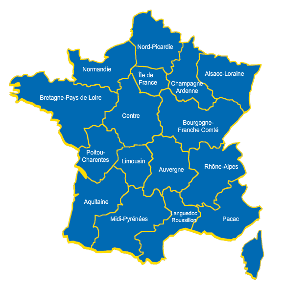 Carte de France des professionnels du Karting