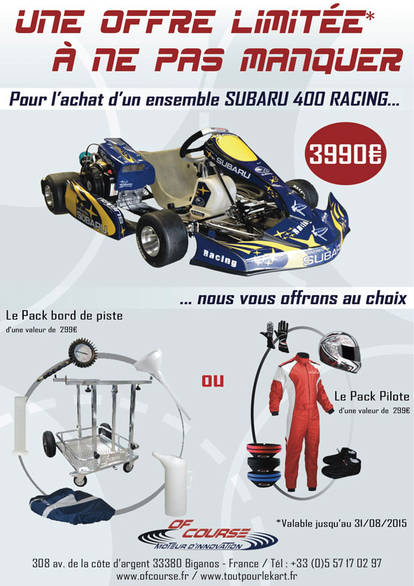 promotion subaru 400 chez tout pour le kart kartmag. Black Bedroom Furniture Sets. Home Design Ideas