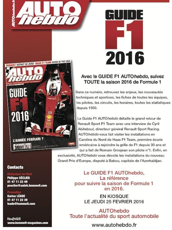le guide f1 d 39 auto hebdo disponible une r f rence kartmag. Black Bedroom Furniture Sets. Home Design Ideas