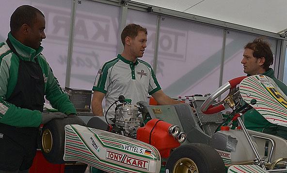 Sebastian Vettel tests the special Tony Kart naked kart