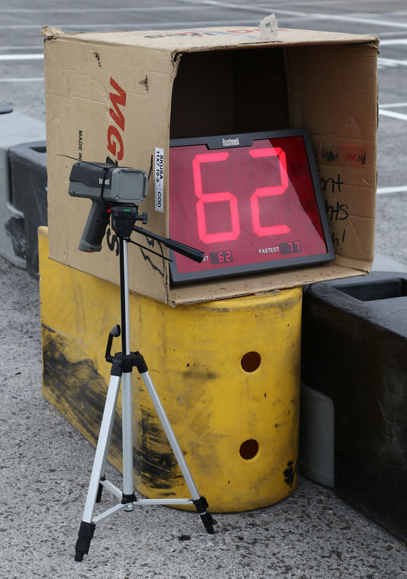Abandonné par la CIK, le radar donnant la vitesse des karts au départ était de rigueur à Las Vegas