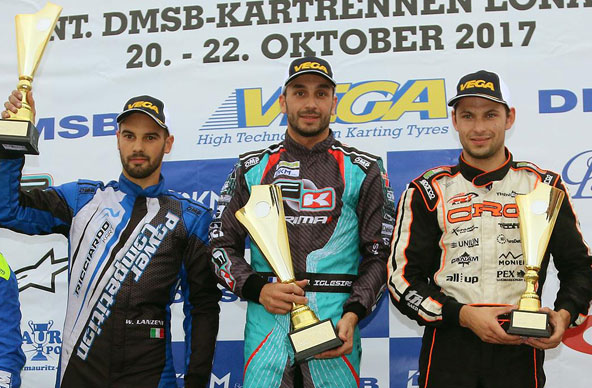 Vainqueur de la Course 1 en KZ2, Jérémy Iglesias termine 2e du Championnat derrière Jorrit Pex (combinaison CRG)