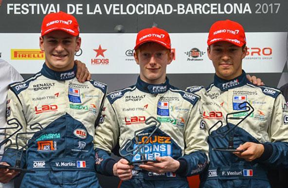 Podium de la Course 1 avec, de g. à dr., Martins, Milesi et Venturi, tous anciens kartmen d'excellent niveau international