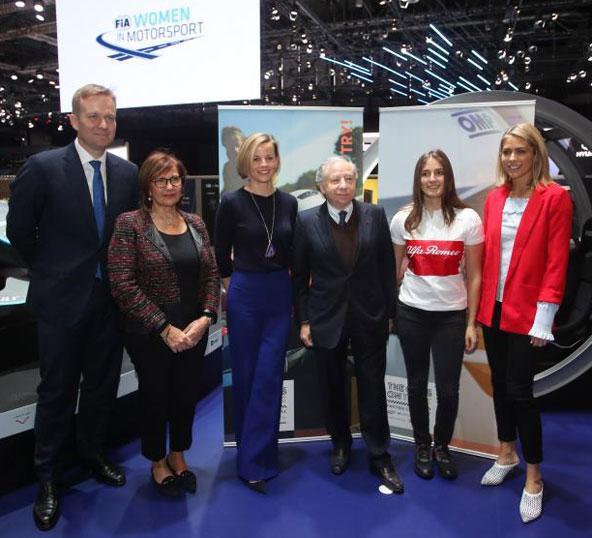 """C'est lors du Salon de l'automobile de Genève que la FIA a présenté le """"European Young Women Programme"""" en présence de Jean Todt, Président de la FIA, et de Michèle Mouton, Présidente de la Commission Femmes dans le Sport Automobile de la FIA. Les ambassadrices du programme Susie Wolff et Tatiana Calderón ont également participé à la conférence de presse."""