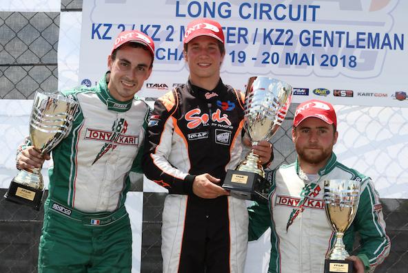 Qui de Bondier, Leuillet ou Picot (ici de g. à dr.) sera champion de France KZ2 Long Circuit 2018?