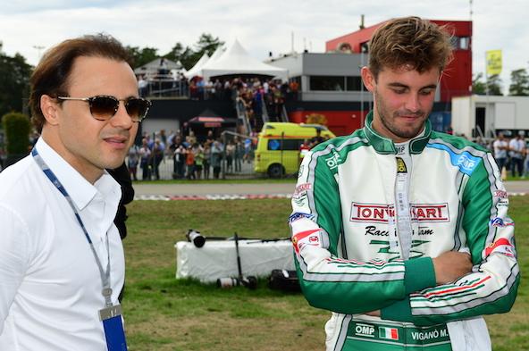 Felipe Massa en 2018 à Genk avec celui qui s'apprête à remporter la Super Coupe Internationale de KZ2: l'Italien Matteo Vigano