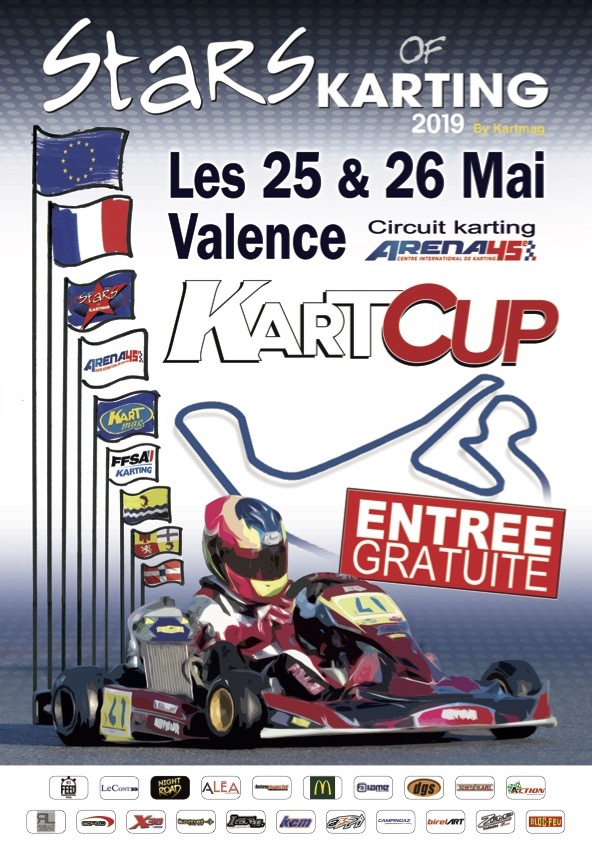 L'affiche de la Kart Cup, avec un petit clin d'oeil à celles des grands championnats internationaux organisés par l'ASK Valence dans les années 90...