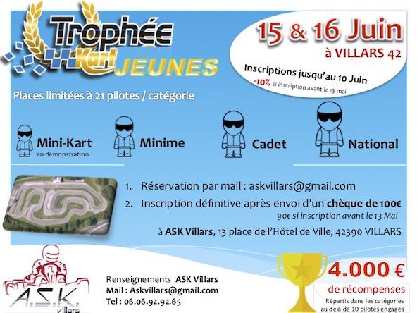 Trophee Kart Jeunes a Villars les 15 et 16 juin-Grosse dotation