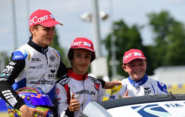 Podium OK avec, de g. à dr., Travisanutto (le Champion du Monde 2019 est aussi Champion d'Europe), Gabriele Mini, vainqueur au Mans, et Taylor Barnard, 3e.