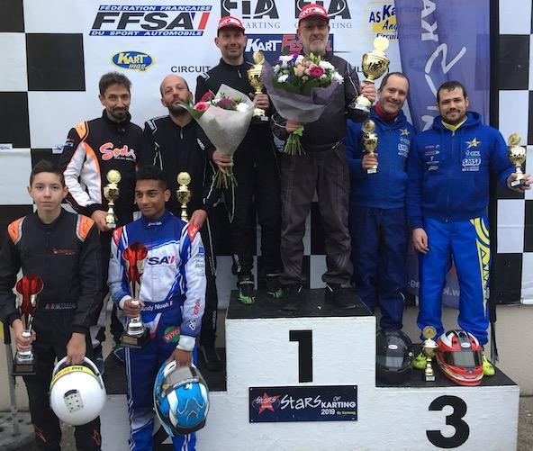 Podium GP2 avec la victoire pour Team 93-Ile de France devant Circuit de l'Europe 76, vainqueur de la Coupe de France 2019, et le team Kart 42-Saint Etienne. En bas à gauche, les vainqueurs en Junior (Noah-
