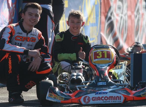 Arthur est ici à gauche lors de la Kart Cup à Valence
