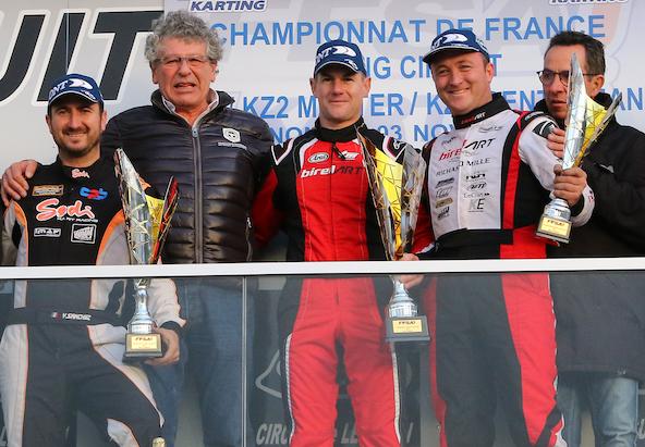 Le podium final en KZ2 Master avec le titre pour Guilvert devant Sanchez (à g.) et Krypciak.