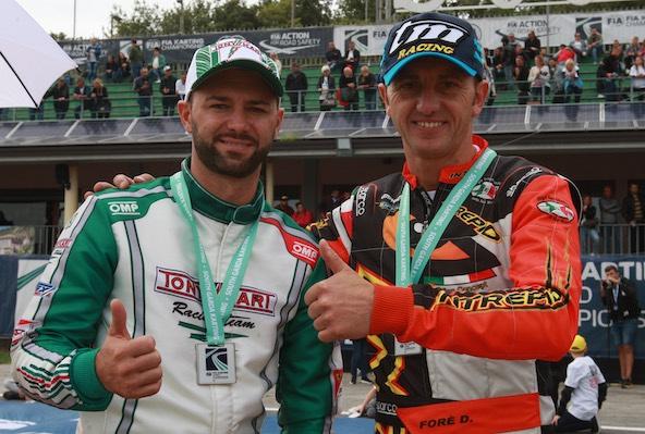 Que nous continuions de vibrer avec les grands acteurs du KZ (comme ici Marco Ardigo et Davide Fore)... on en rêve ! Le Karting a besoin d'une locomotive.