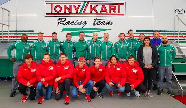 Sept espoirs de la Ferrari Academy a Lonato avec Tony Kart