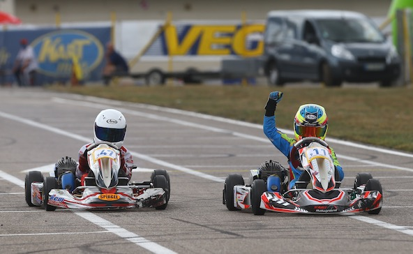 Enzo Perrot Thommerot, ici lors de sa victoire au Trophée Kart Mag en Minime en 2019