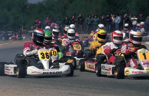 Didier André en première ligne au Championnat d'Europe à Valence, ici au côté de Jarno Trulli