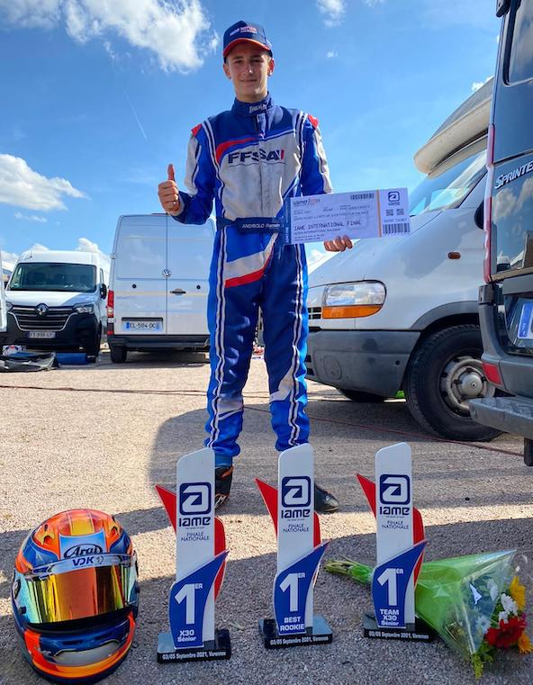 L interview de Romain Andriolo apres sa victoire en IAME a Varennes-3