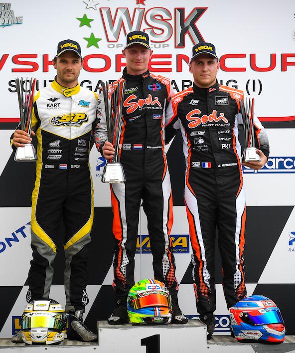 Podium KZ2 avec Stan Pex (à g.) et Adrien Renaudin autour de Senna Van Walstijn
