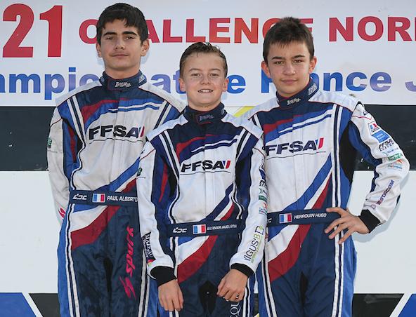 Le podium final du Championnat avec le titre pour Bernier devant Alberto (à g.) et Herrouin
