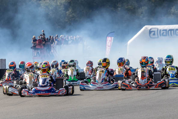 Clément Outran, brillant leader en X30 Junior au Karting des Fagnes